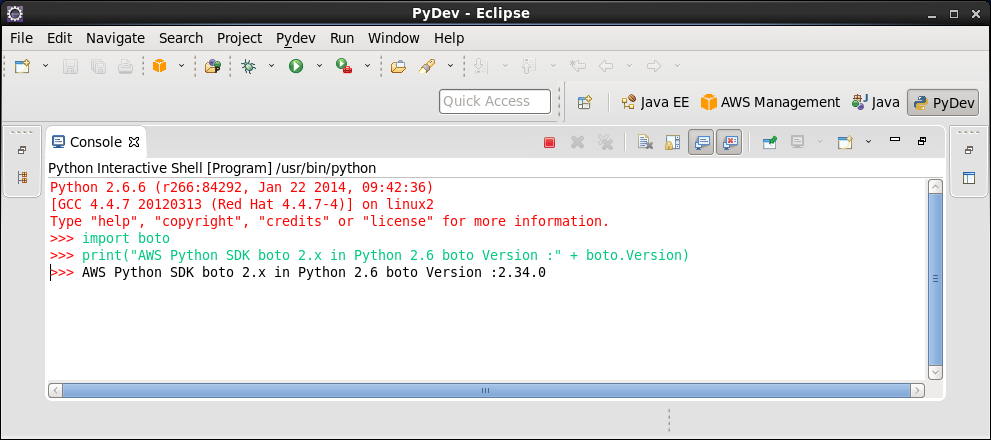 Click to view larger image in new window. AWS Eclipse Python SDK boto 2 in Python 2.6