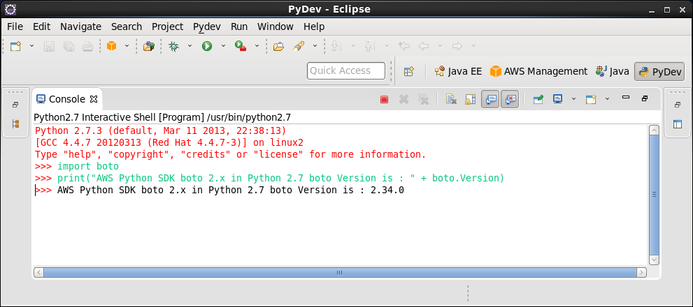 Click to view larger image in new window. AWS Eclipse Python SDK boto 2 in Python 2.7.3