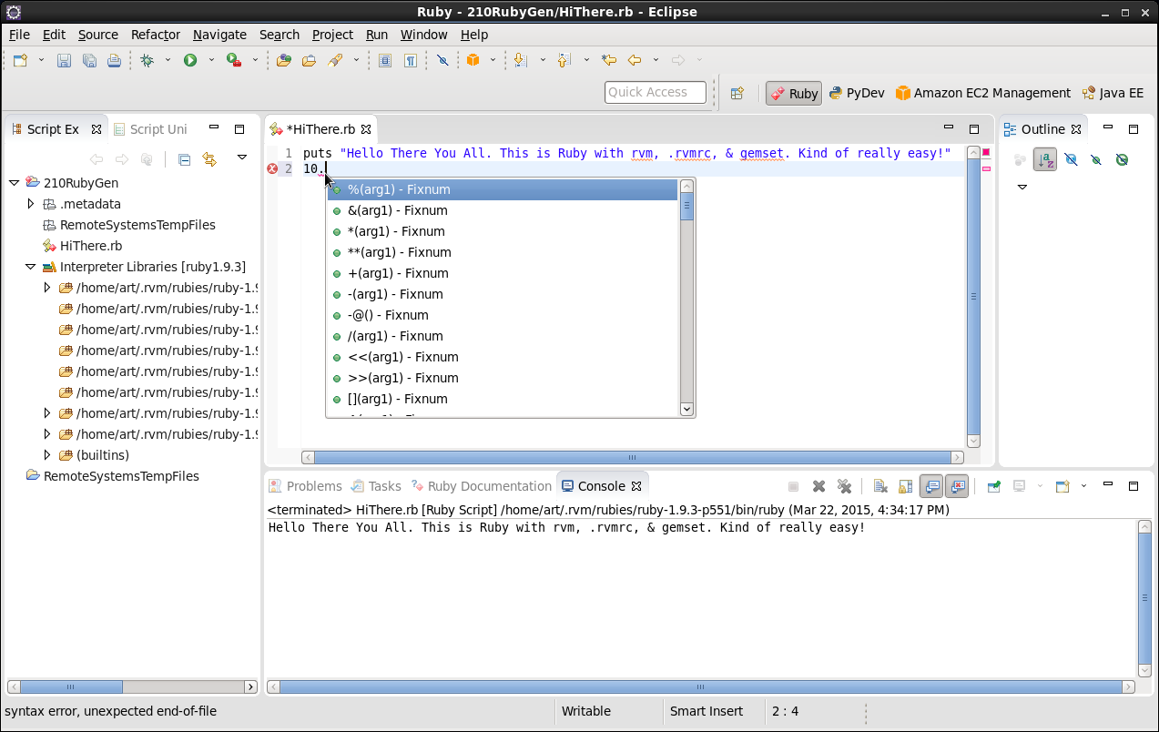 Click to view larger image in new window. Ruby using rvm .rvmrc and gemset in Eclipse