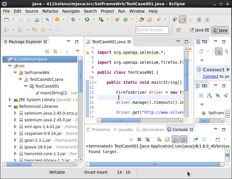 Click to view larger image in new window. Selenuim with Java Bindings in Eclipse