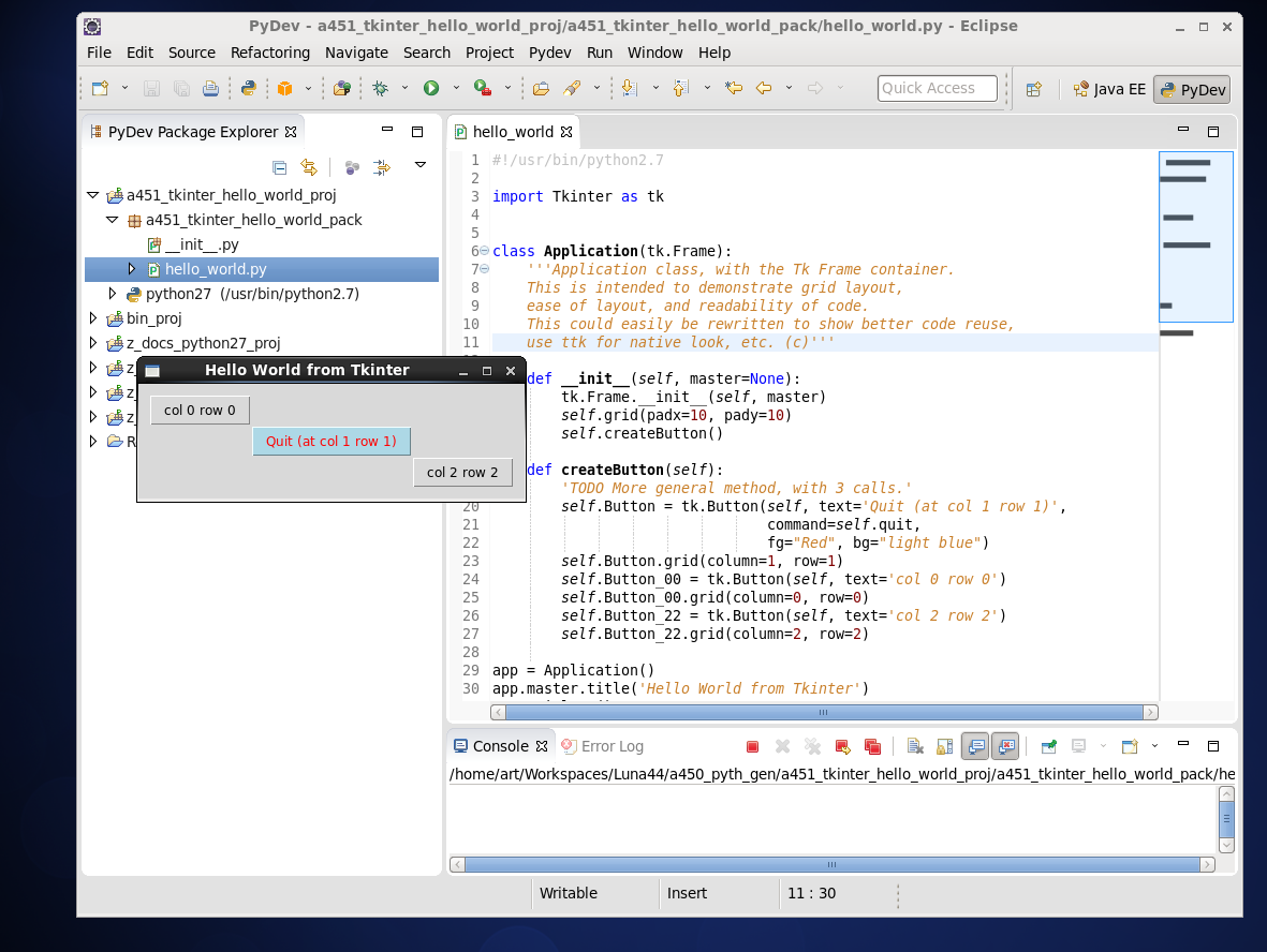Click to view image in new window. Hello World from Python GUI Tkinter